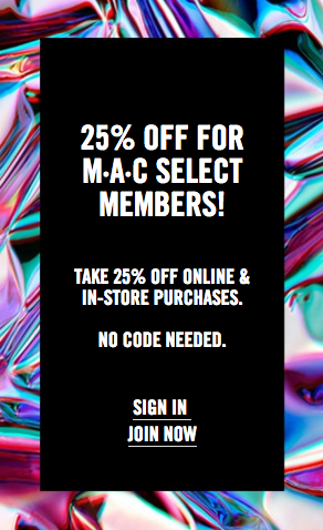 Mac Cosmetics Canada 25 Off Mac Select Member Sale Free Shipping 2018 Canadian Black Friday Cyber Monday Deals