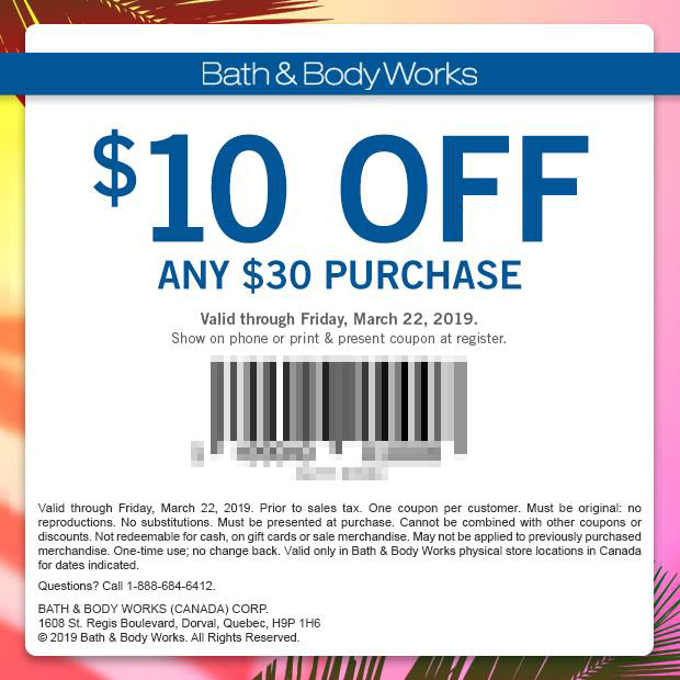 BATH & BODY WORKS CANADA: $10 Off $30 Purchase | Mobile ...