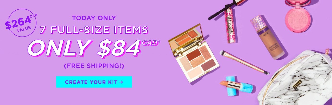 45cf7adc638 TARTE COSMETICS CANADA: Create Your Own Custom Beauty Kit NOW! 7 Full-Size  Items for $84 CAD | HOT Canadian Deals, June 5, 2019 – Glossense – Canadian  ...